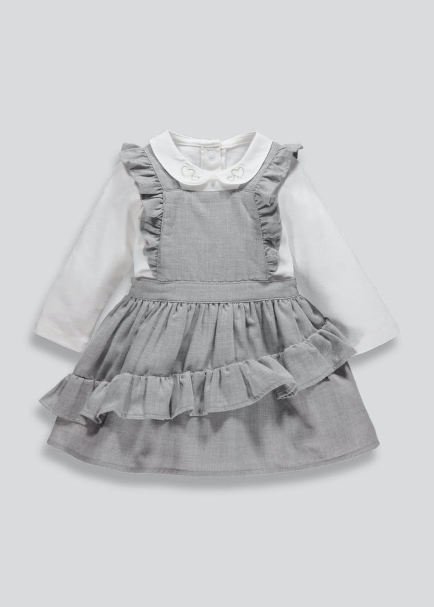 Girls Ruffle Pinafore Set (Newborn-18mths)