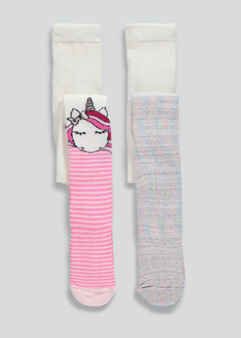 Girls 2 Pack Unicorn Tights (2-11yrs)