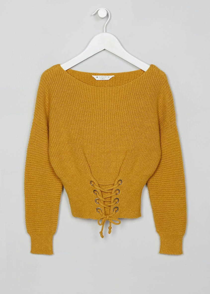 Girls Candy Couture Lace Up Knitted Jumper (9-16yrs)