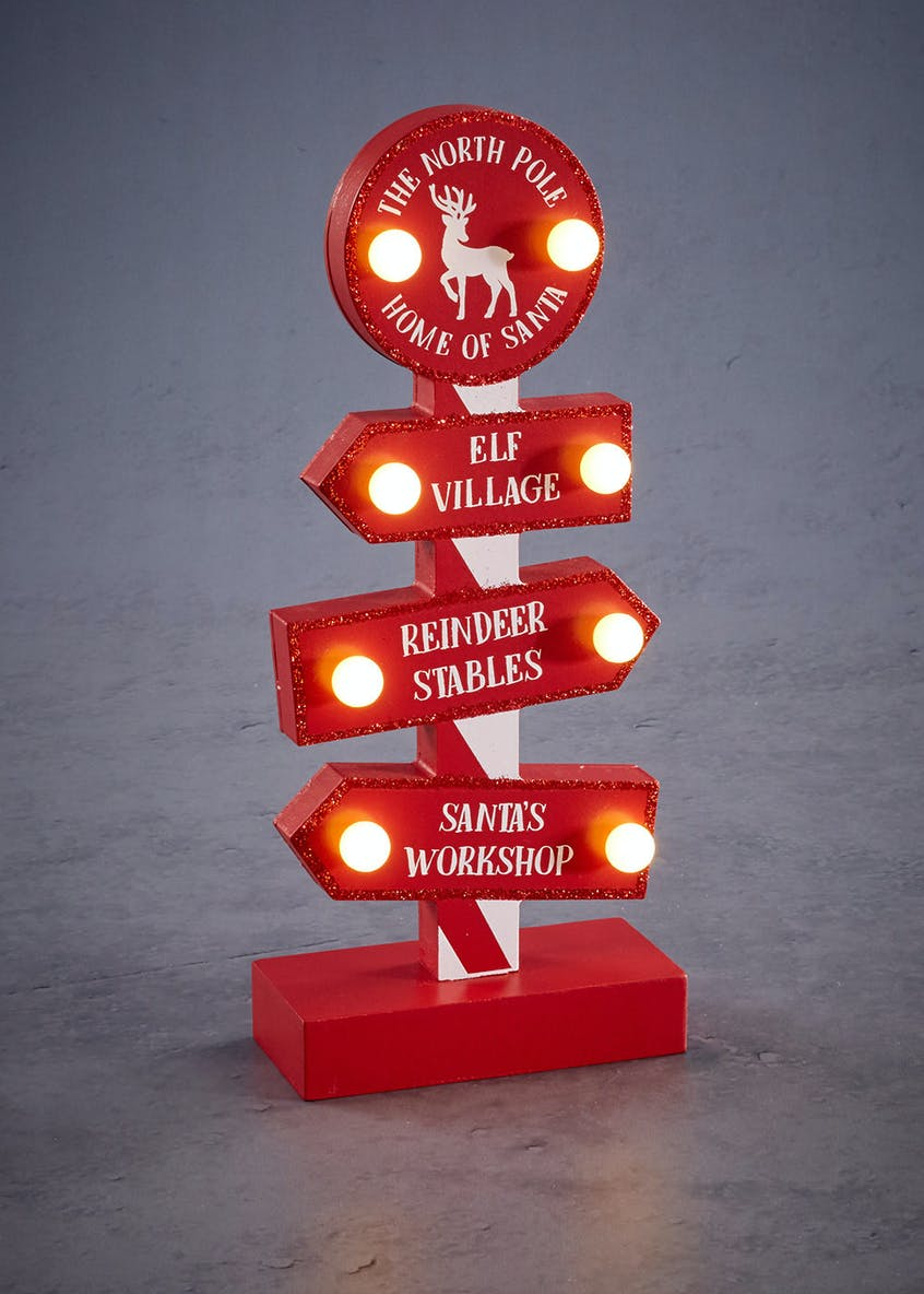 LED North Pole Christmas Decoration (28cm x 12cm x 6cm)