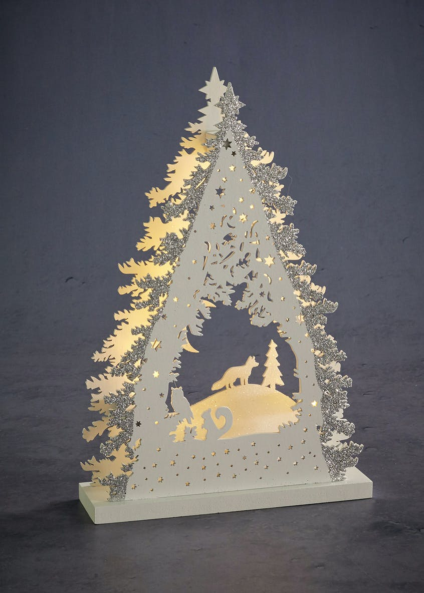 LED Glitter Christmas Tree Scene (29cm x 20cm x 6cm)