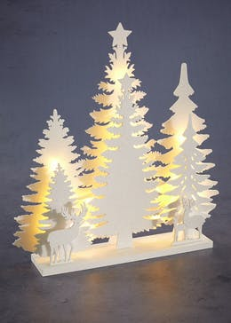 led forest scene christmas decoration 40cm x 38cm x 7cm - Wooden Led Christmas Decoration