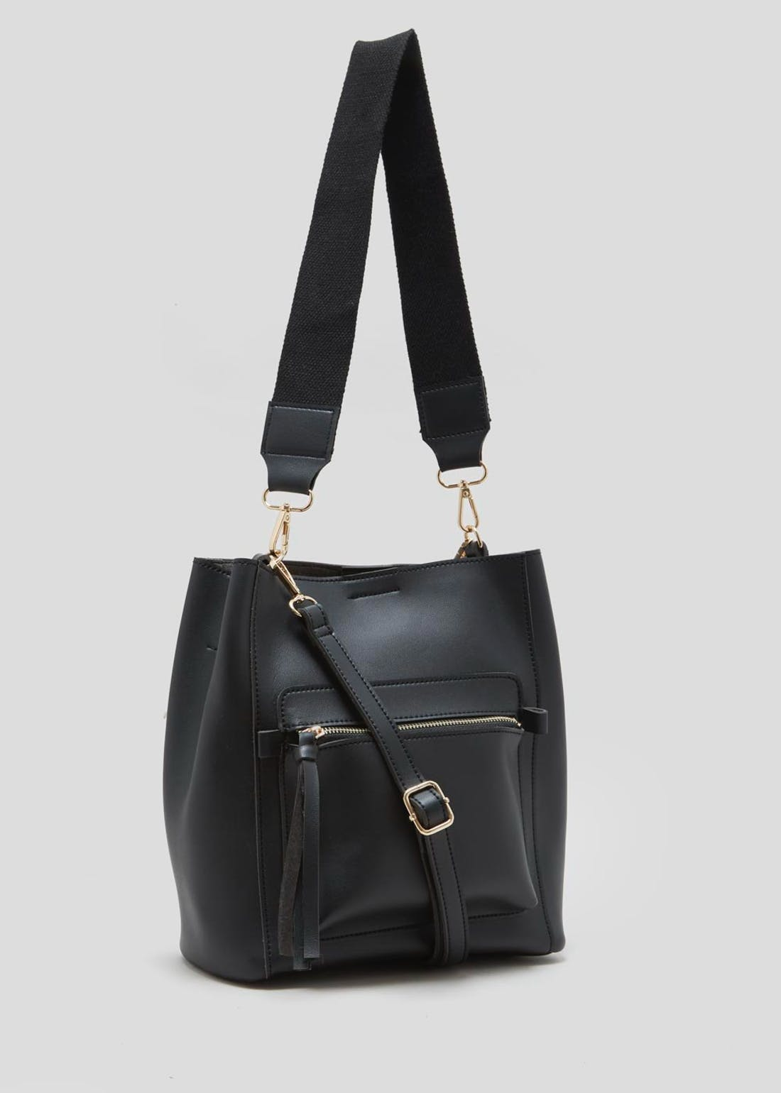 Smooth Zip Front Bucket Bag