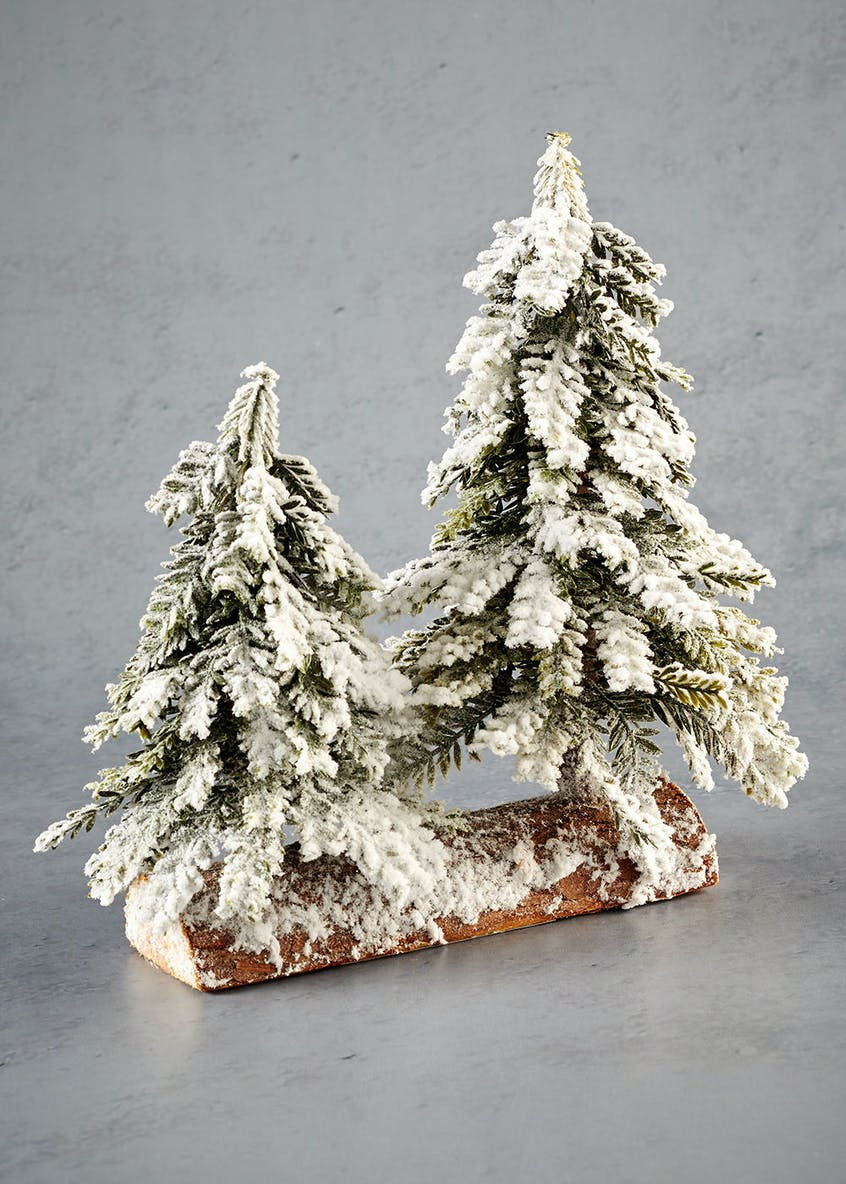 Double Snowy Mini Christmas Trees (26cm x 19cm x 6cm)