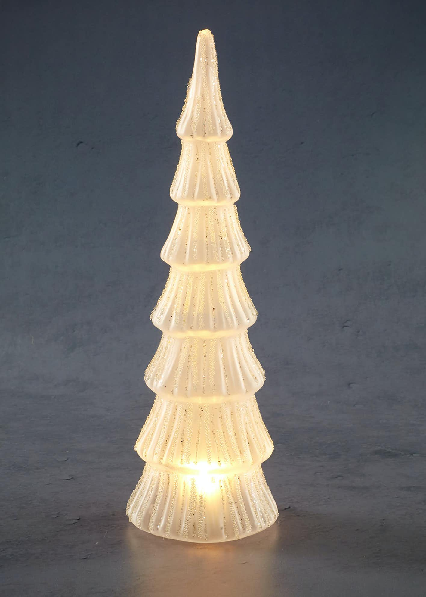 LED Glass Christmas Tree Decoration (34cm x 10cm)