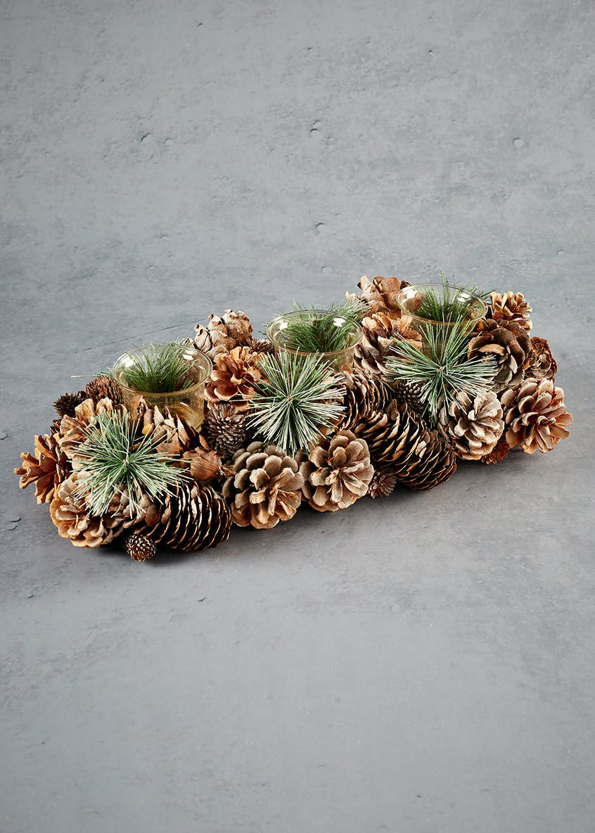 Pinecone Christmas Tealight Holder (37cm x 15cm)