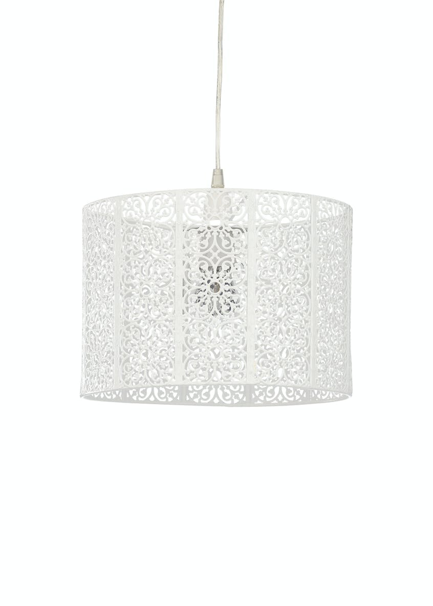 Alice Fretwork Drum Easy Fit Lamp Shade (H20cm x W30cm)