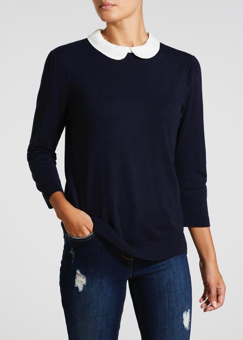 2 in 1 Peter Pan Collar Shirt Jumper
