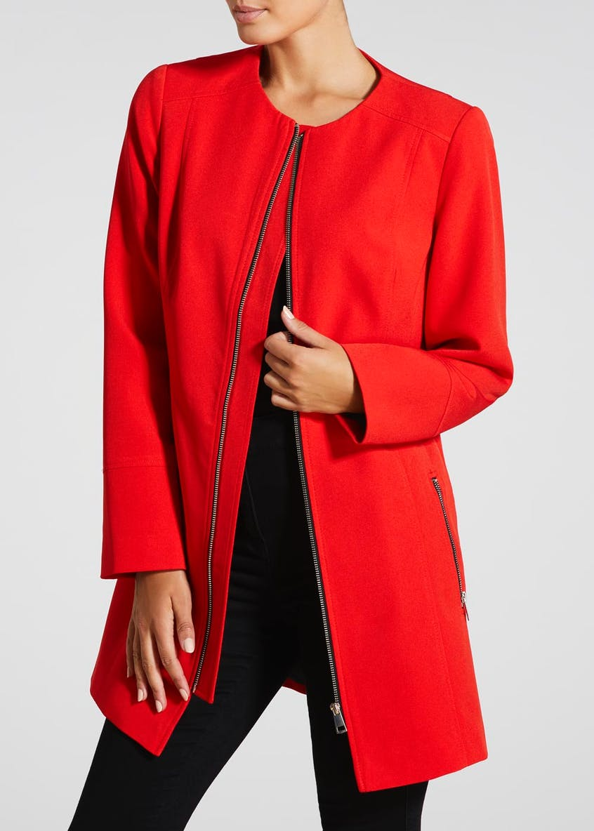 Collarless Boyfriend Coat