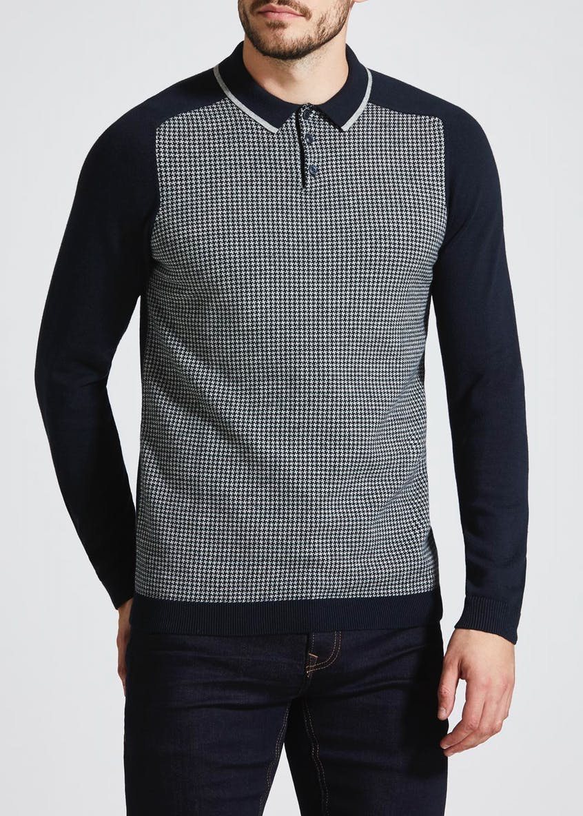 Long Sleeve Houndstooth Knitted Polo Shirt