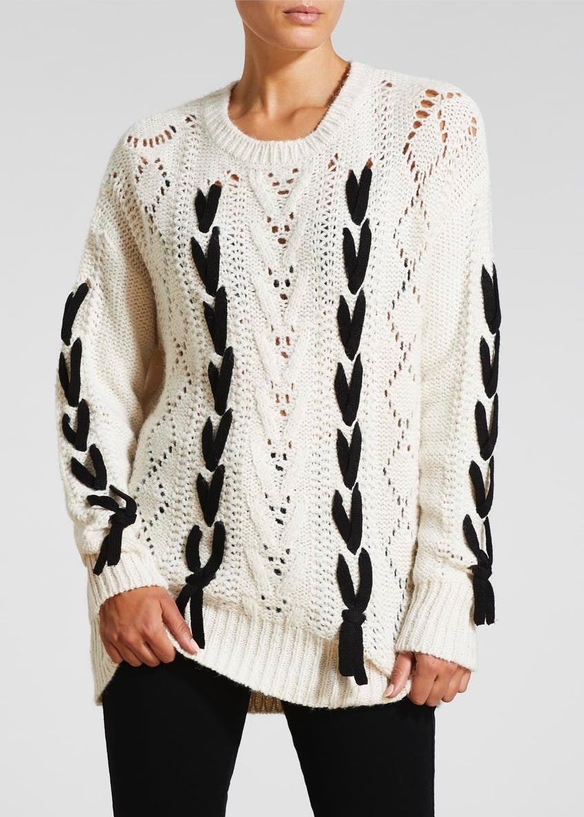 Contrast Lace Up Cable Knit Jumper