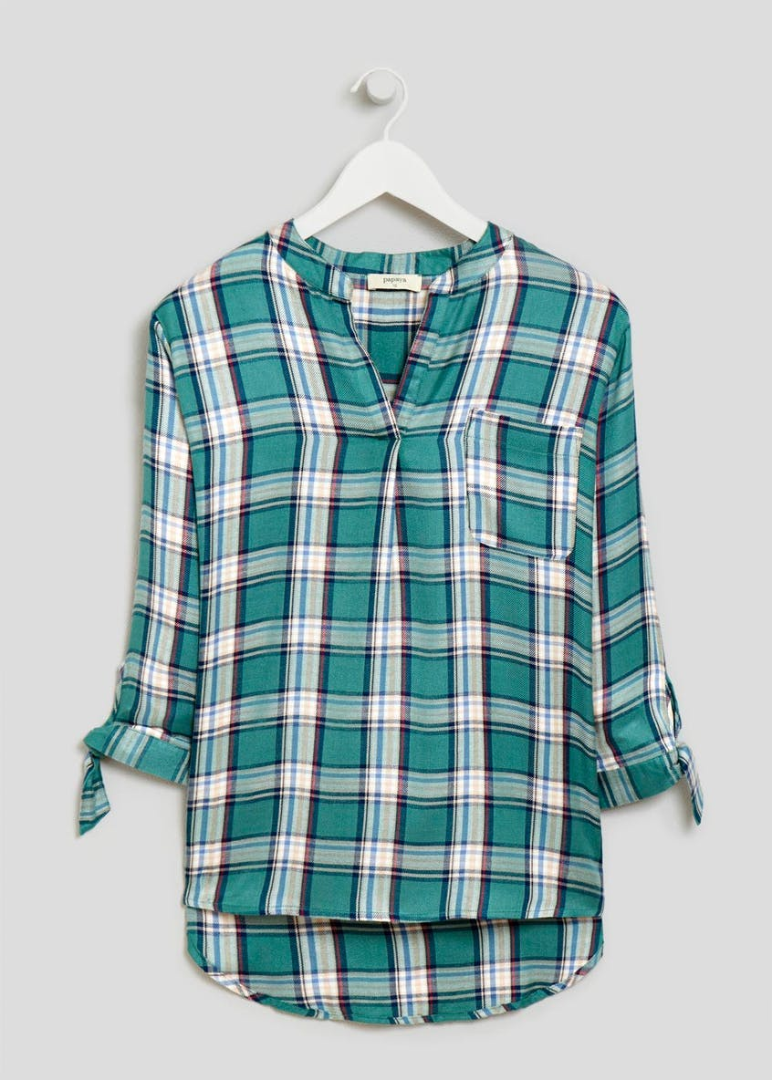 Check Grandad Collar Shirt