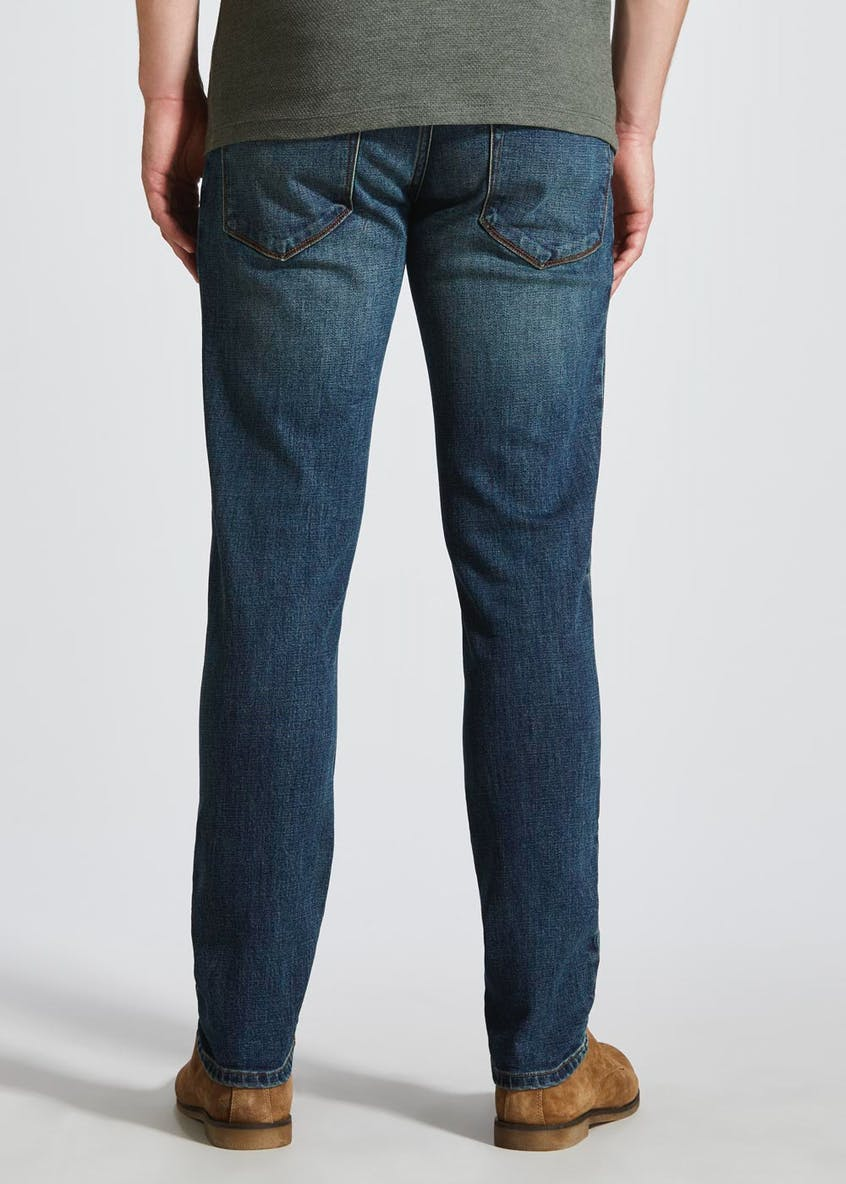 Stretch Tapered Fit Vintage Wash Jeans