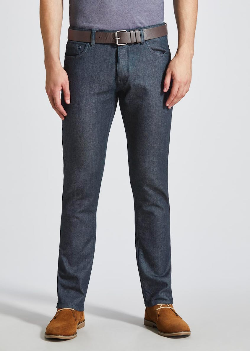Belted Stretch Slim Fit Jeans