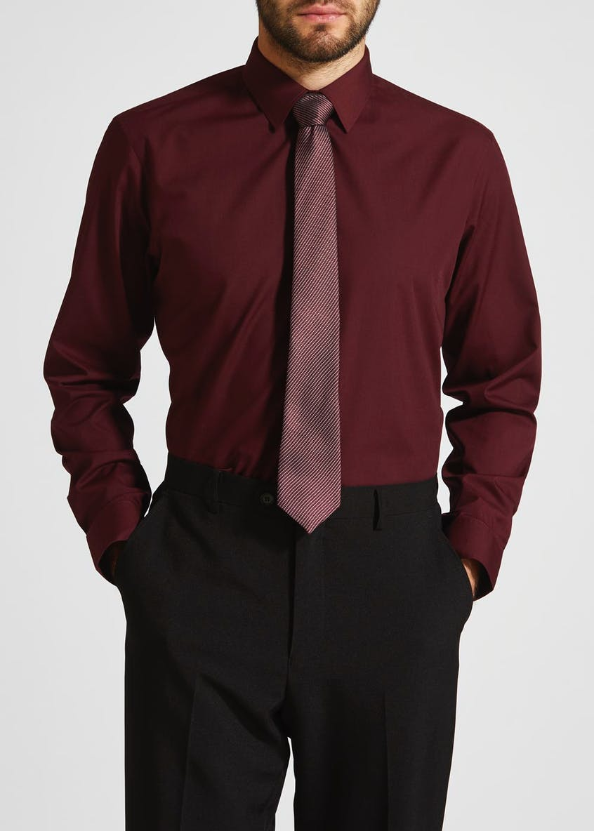 Regular Fit Poplin Shirt & Tie Set