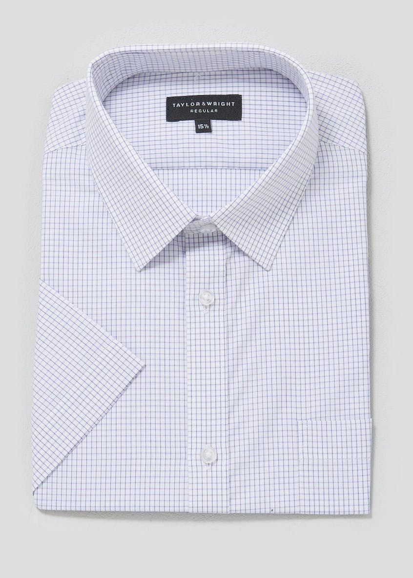 Easy to Iron Cotton Short Sleeve Check Shirt