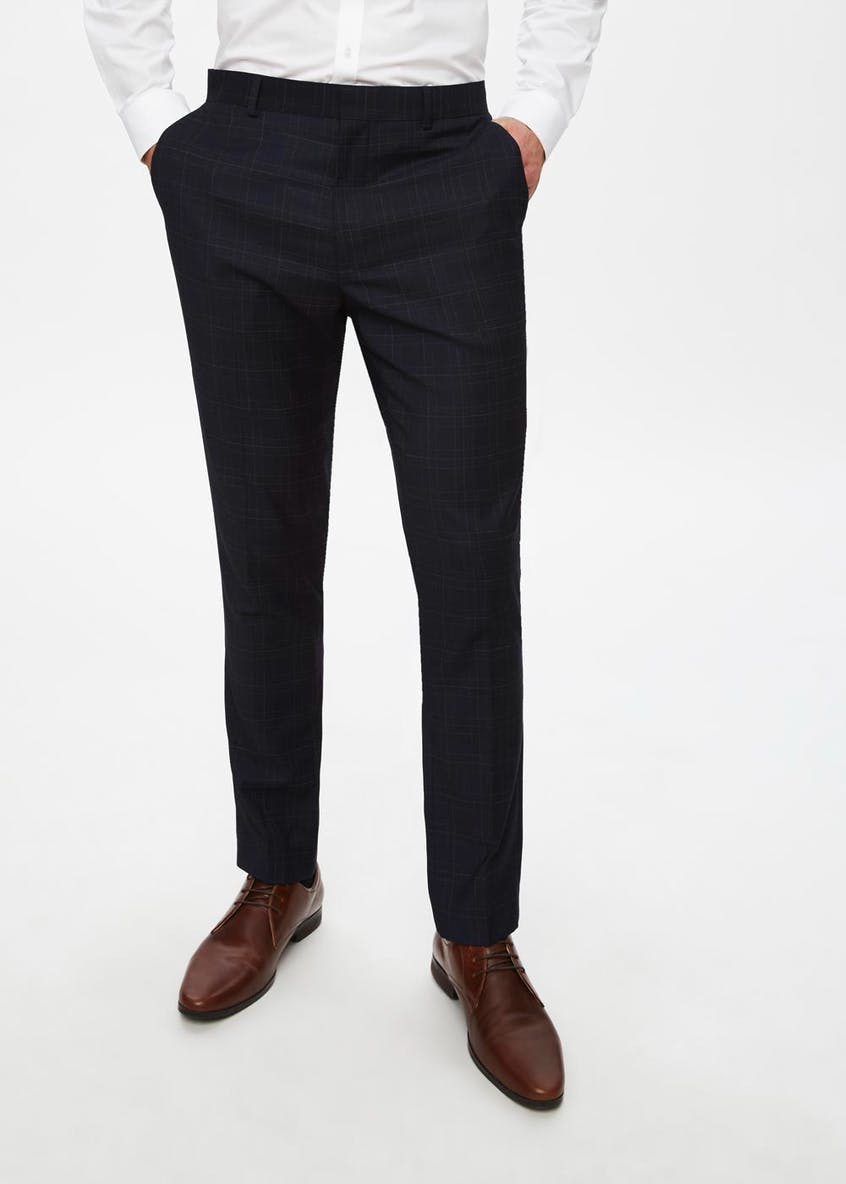 Hopkins Skinny Fit Check Suit Trousers