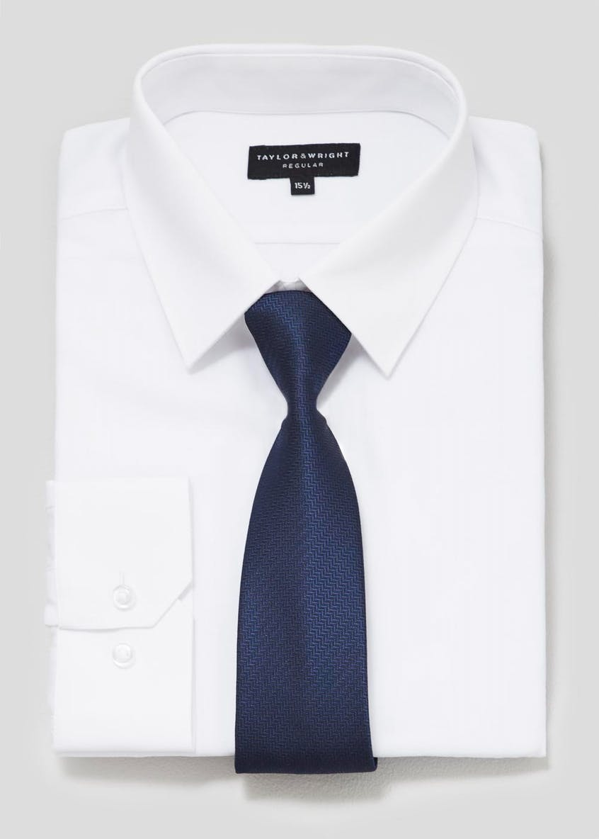 Regular Fit Herringbone Shirt & Tie Set