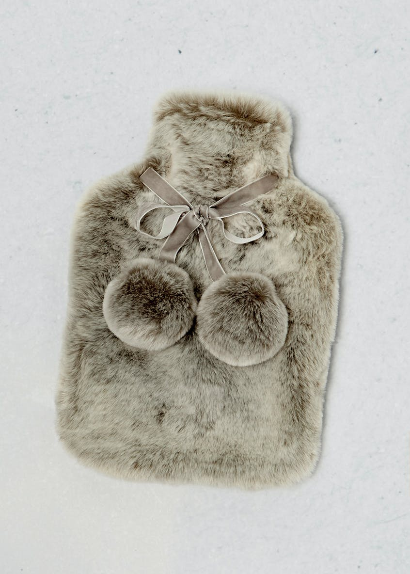 Faux Fur Hot Water Bottle (37cm x 24 x 6cm)