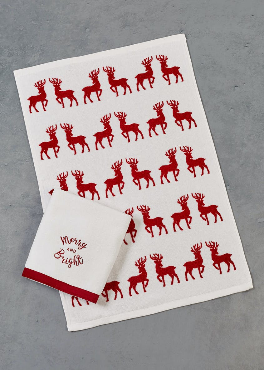 2 Pack Stag Christmas Tea Towels (60cm x 40cm)