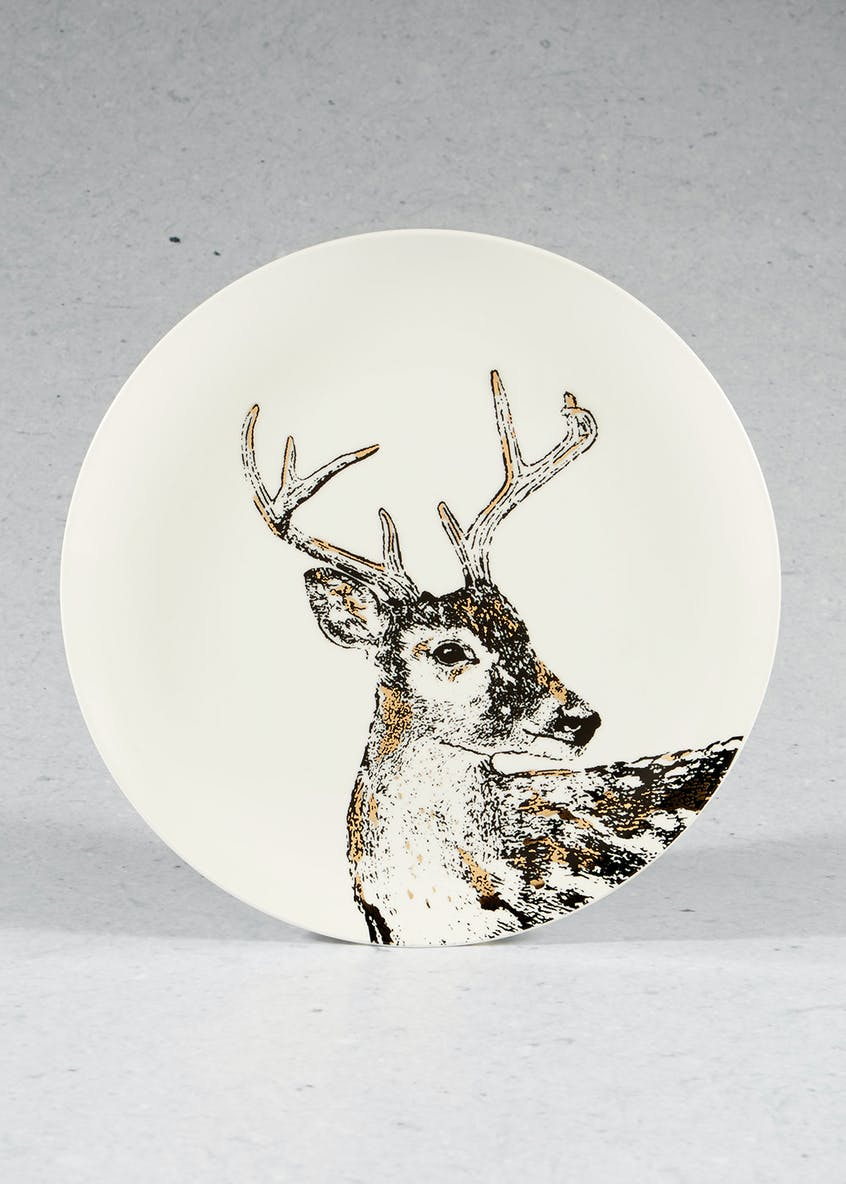 Stag Print Christmas Dinner Plate (27cm)