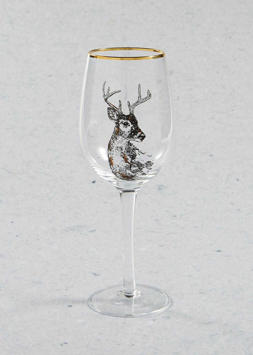 Stag Christmas Wine Glass (23cm x 7cm)