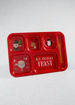 Kids Sectioned Christmas Food Tray (37cm x 26cm)