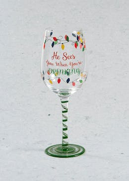 Hand Painted Christmas Wine Glass (23cm x 7cm)