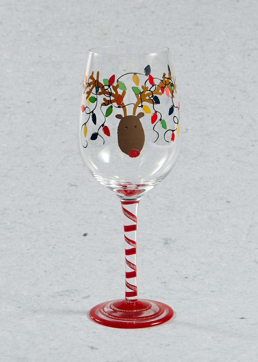 Hand Painted Reindeer Christmas Wine Glass (23cm x 7cm)