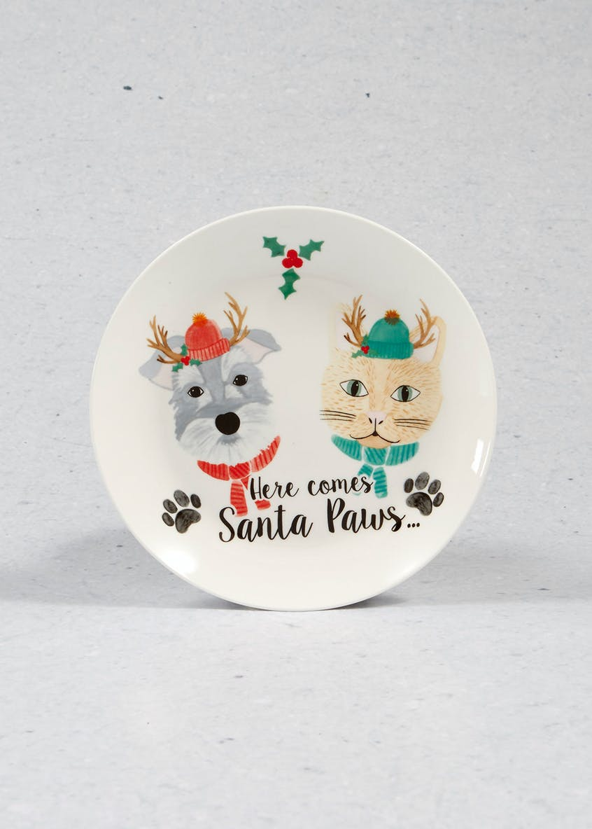 Cat & Dog Christmas Side Plate (19cm)