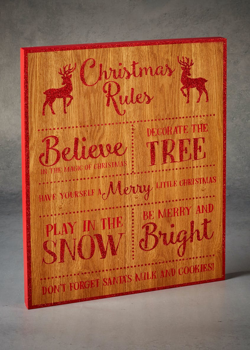 Christmas Rules Sign (45cm x 35cm x 3cm)