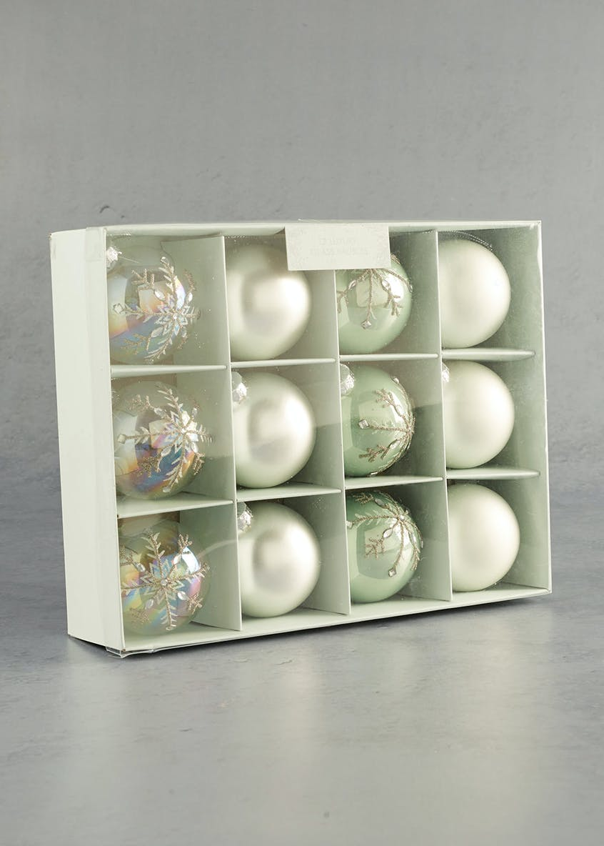 12 Pack Luxury Glass Christmas Tree Baubles