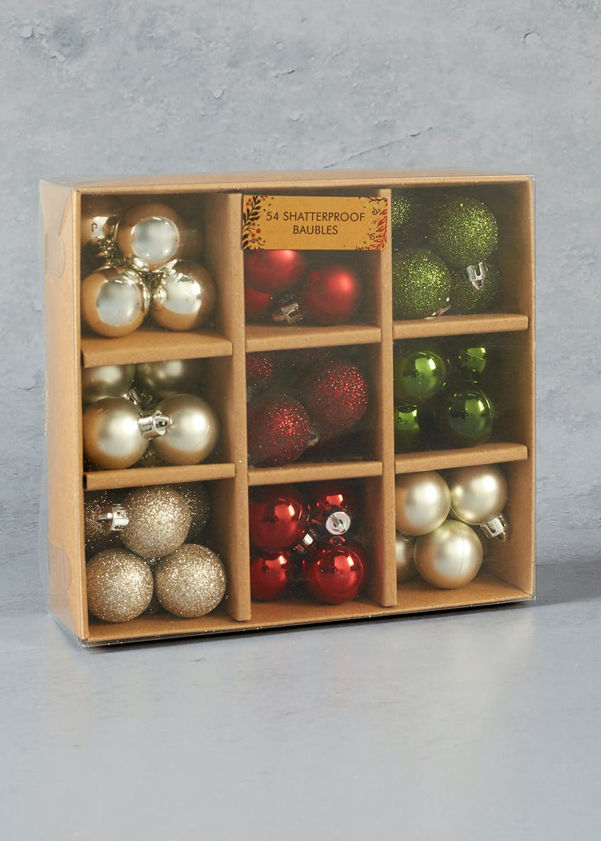 54 Pack Shatterproof Mini Christmas Tree Baubles