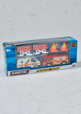 Kids Teamsterz Rescue Team Ambulance & Fire Engine Set (18cm x 8cm x 5cm)