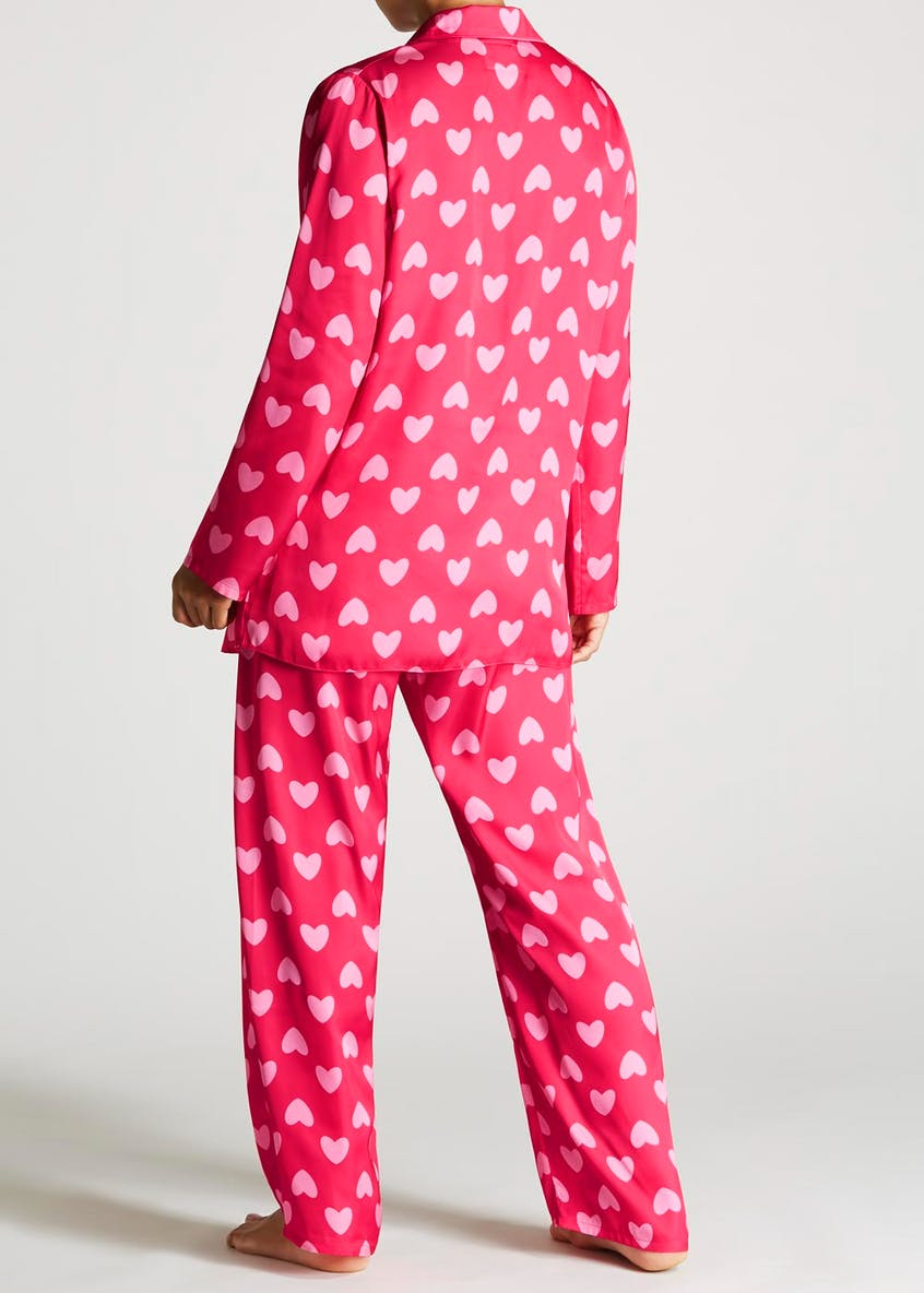 Heart Print Satin Pyjama Set
