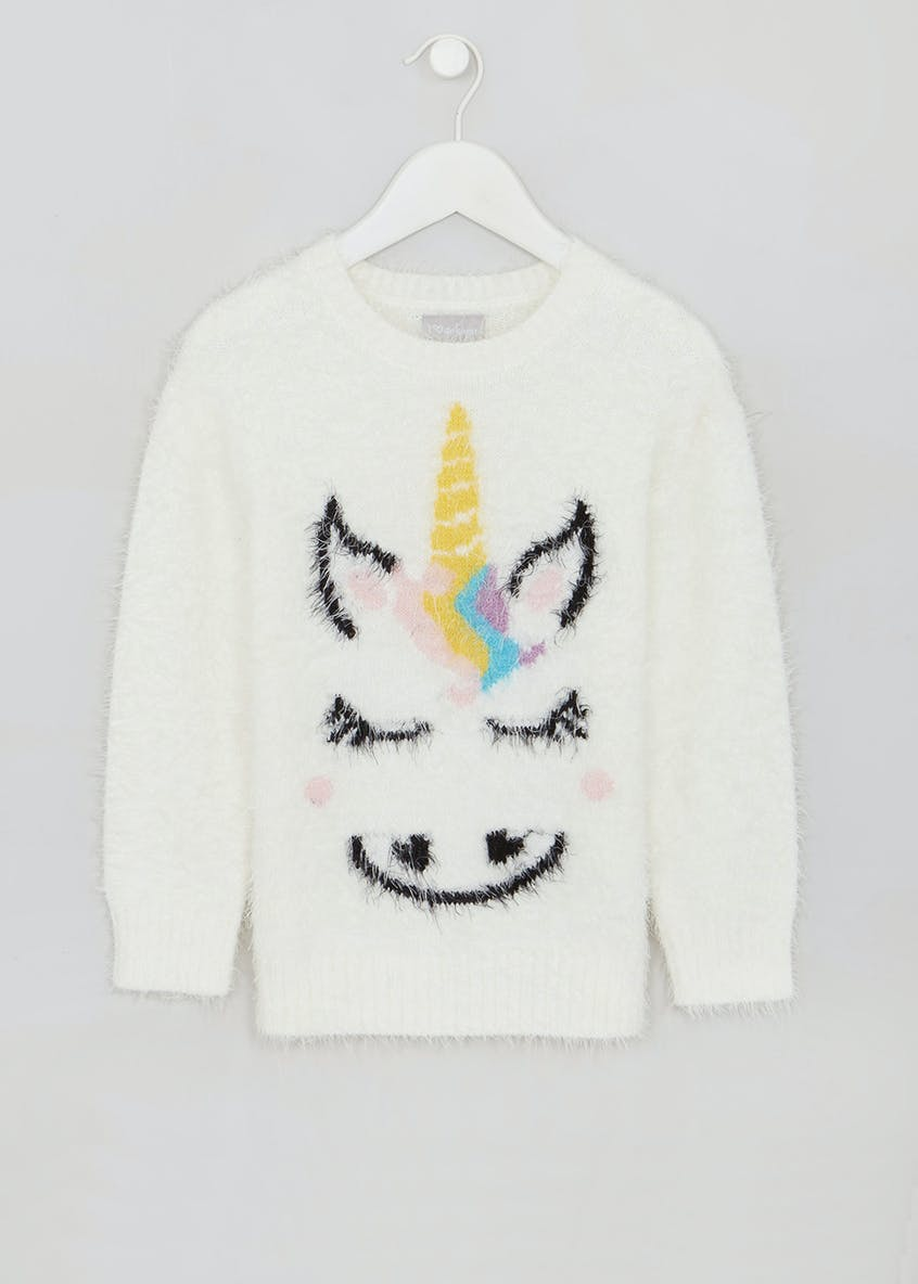 Girls Unicorn Eyelash Knit Jumper (4-13yrs)