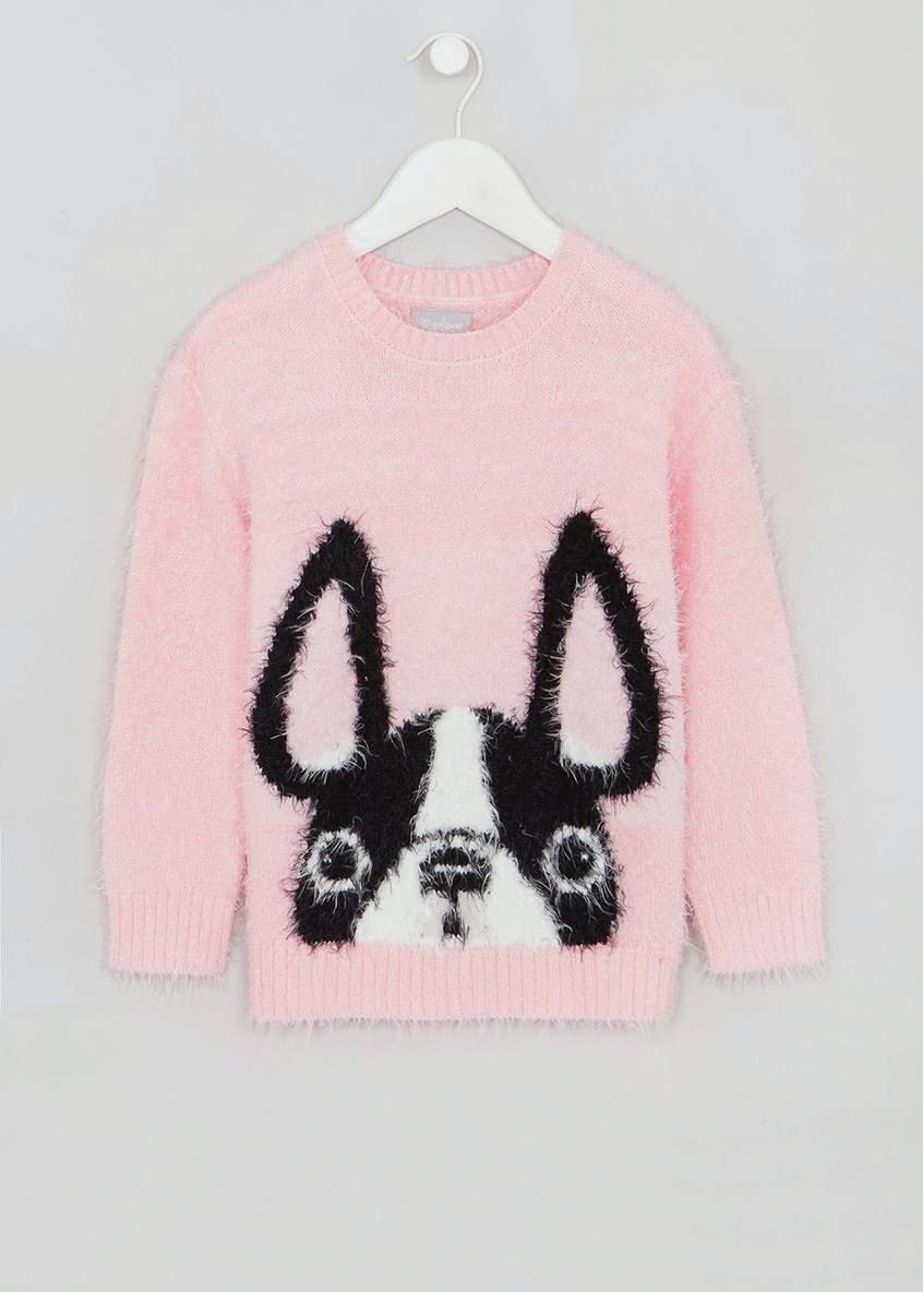 Girls French Bulldog Eyelash Knit Jumper (4-13yrs)