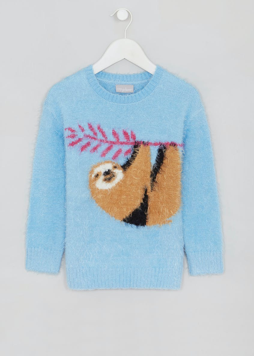 Girls Sloth Eyelash Knit Jumper (4-13yrs)