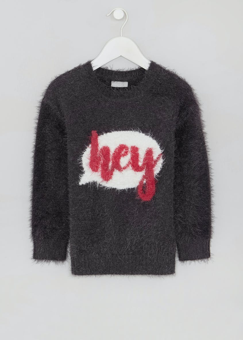 Girls Hey Slogan Eyelash Knit Jumper (4-13yrs)
