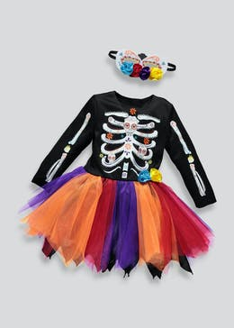 Kids Day Of The Dead Halloween Dress Up Costume (12mths-11yrs)