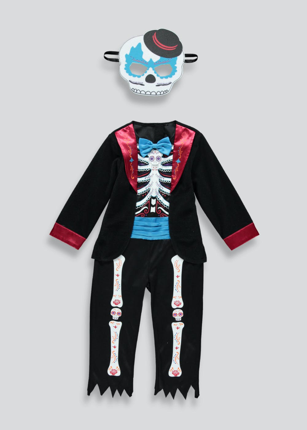kids day of the dead halloween costume (12mths-11yrs) – black – matalan