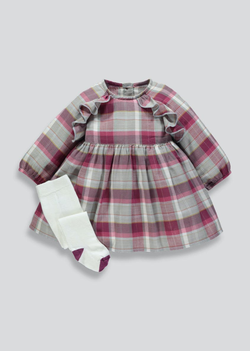 Girls Check Dress & Tights Set (Newborn-18mths)