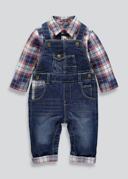 Unisex Denim Dungarees & Shirt Set (Newborn-18mths)