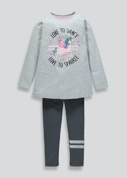 Girls Unicorn Dance Slogan Sweatshirt & Leggings Set (4-13yrs)