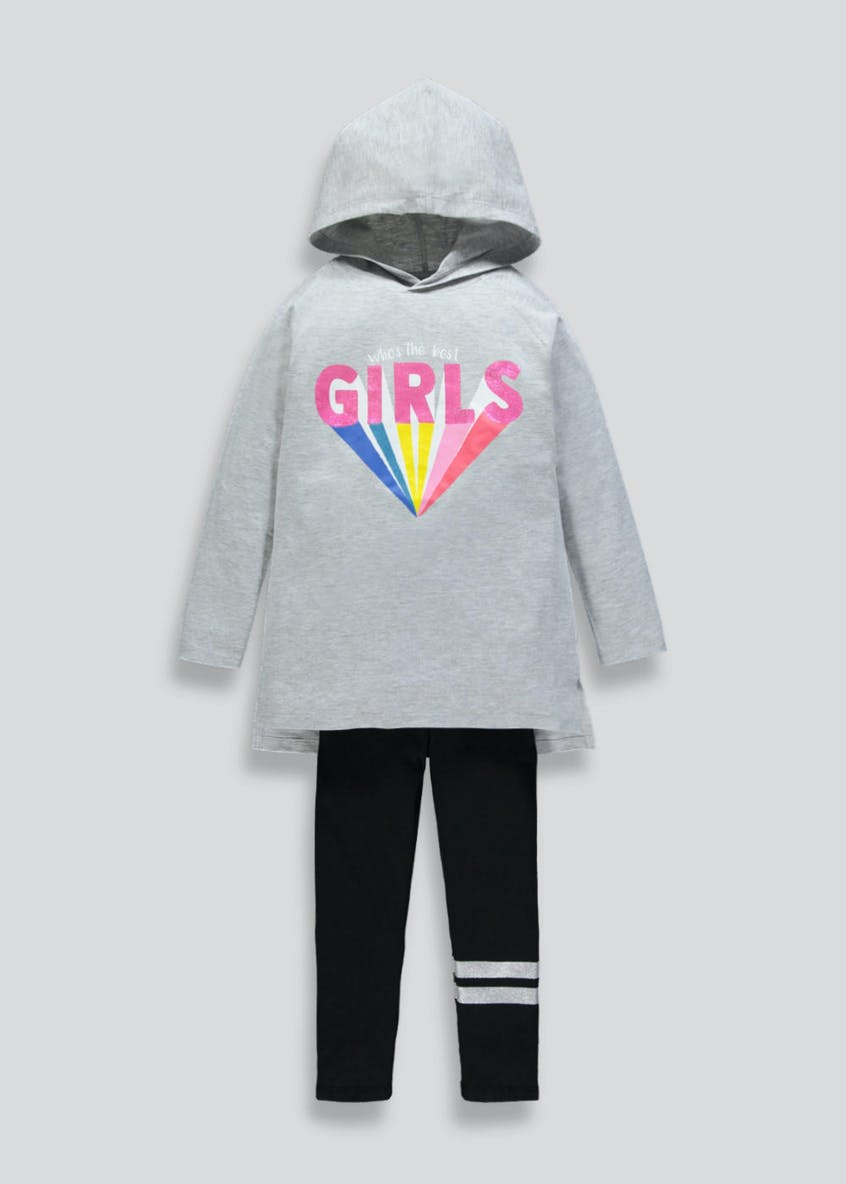 Girls Hooded Slogan Sweatshirt & leggings Set (4-13yrs)