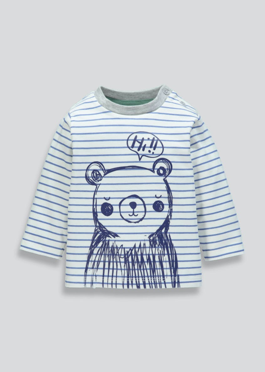 Unisex Stripe Bear T-Shirt (Tiny Baby-18mths)