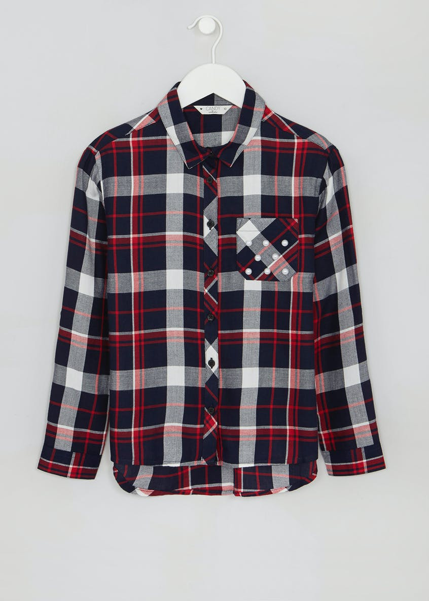 Girls Candy Couture Pearl Pocket Check Shirt (9-16yrs)