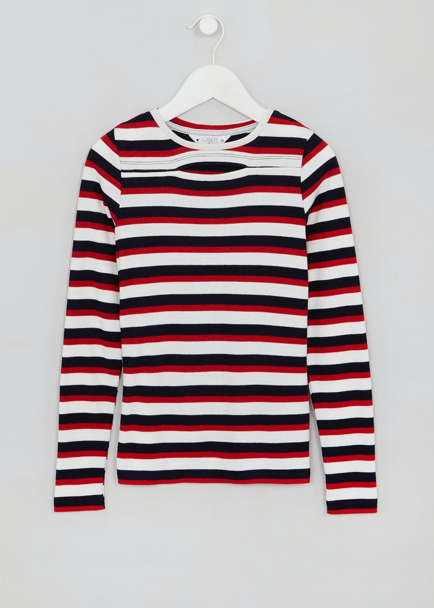 Girls Candy Couture Long Sleeve Stripe Top (9-16yrs)