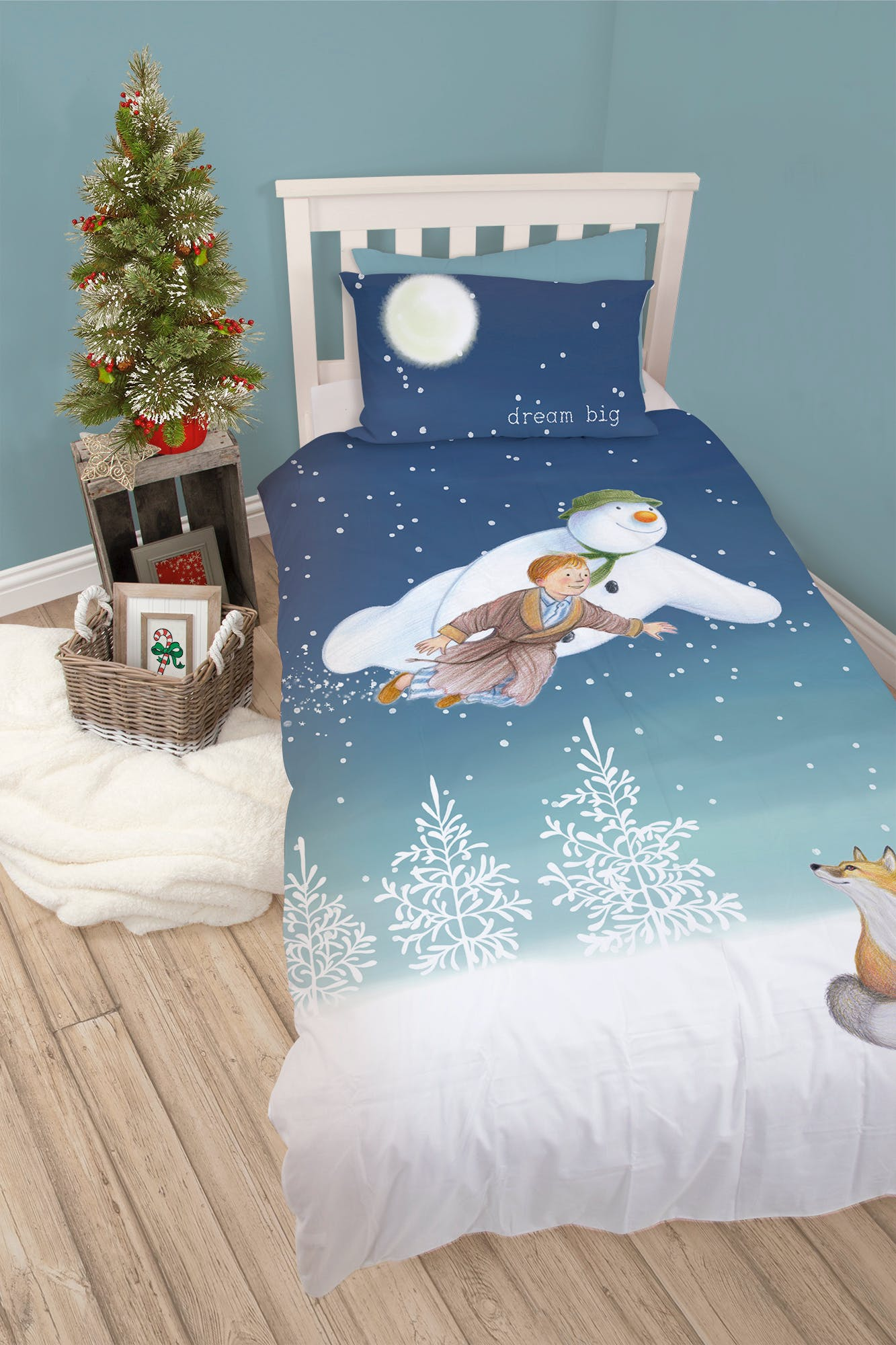 Kids The Snowman Christmas Bedding Set (Single) – White – Matalan