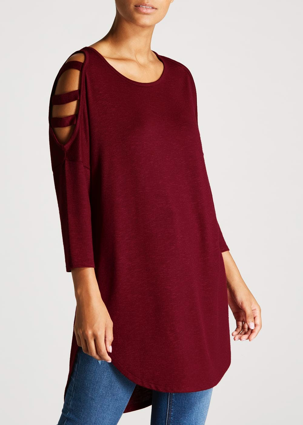7363fd9e6e1ffc Oversized Cold Shoulder Top – Burgundy – Matalan